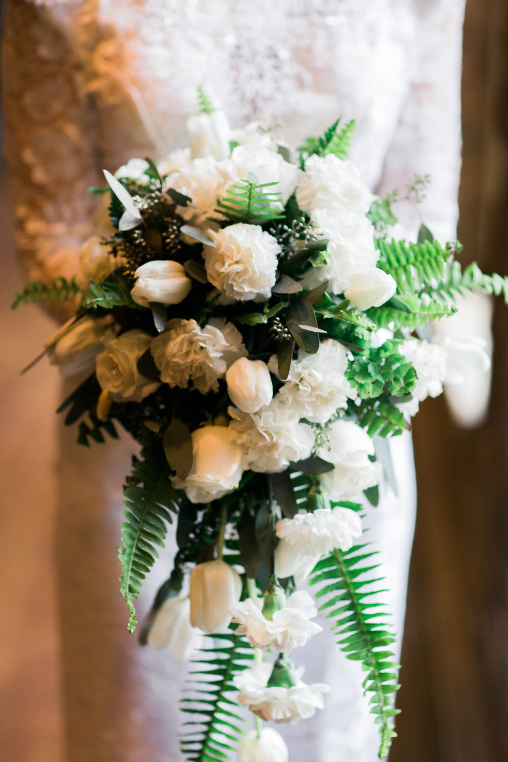 White and green bouquet by Saint Charles florist