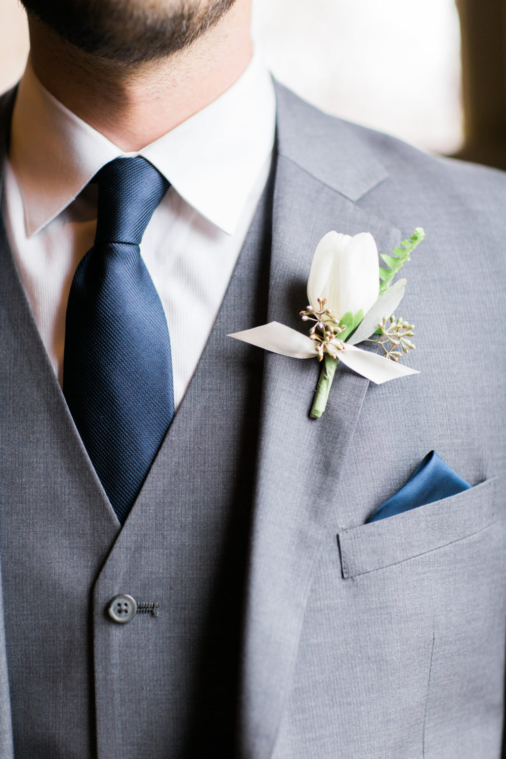 White and green boutonniere by Saint Charles Illinois florist
