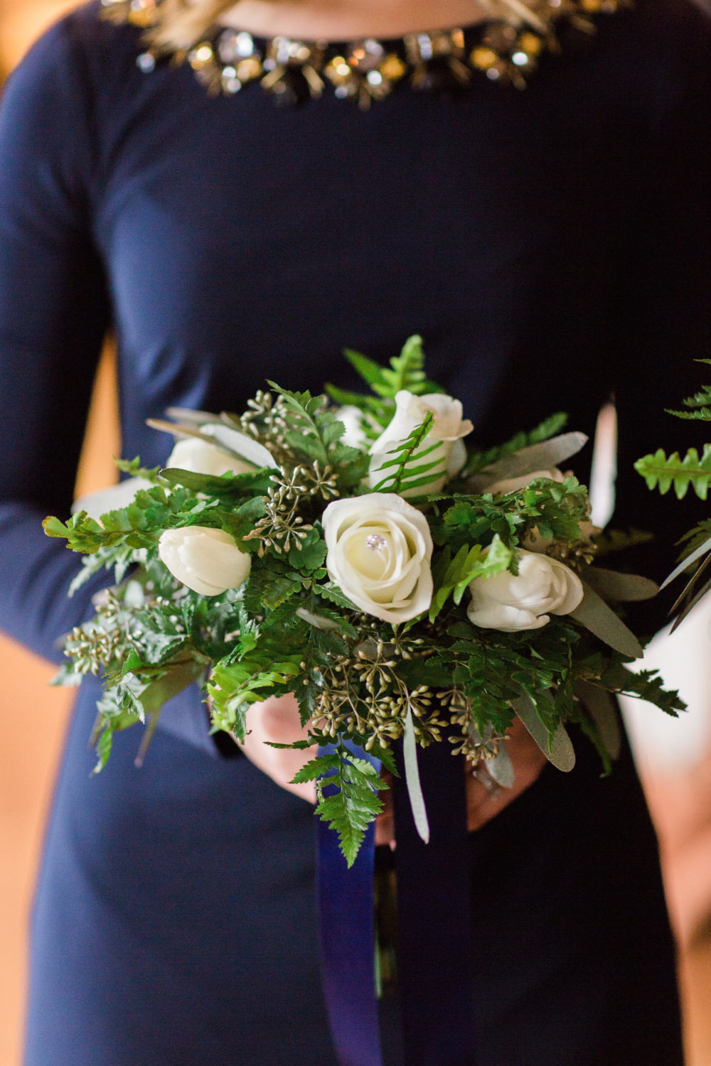 White and green bridesmaid bouquet by Saint Charles Illinois florist
