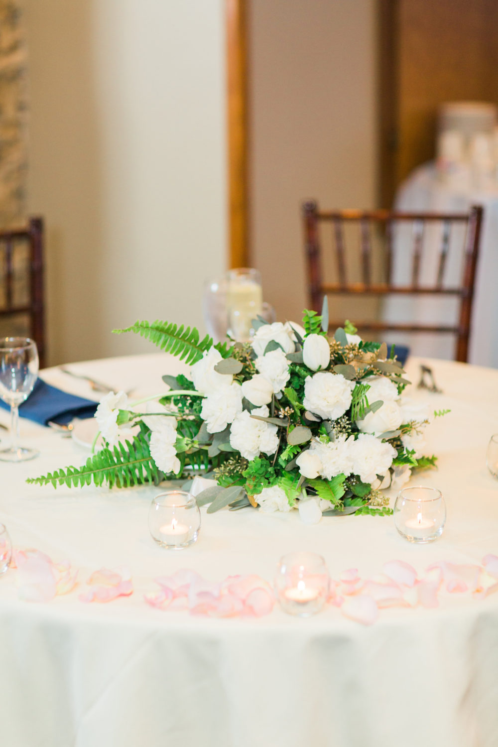 white rose centerpiece by Saint Charles, Illinois Florist