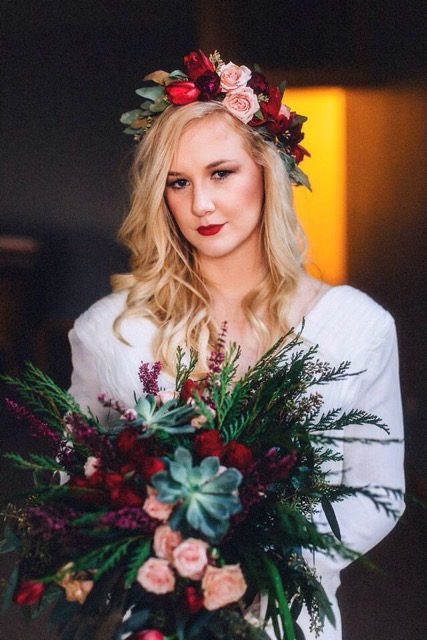 burgundy, pink, green, and red floral bridal bouquet by Saint Charles, Illinois florist