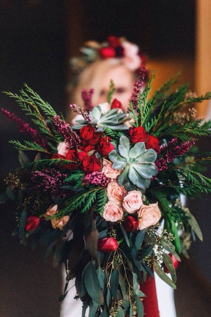 burgundy, pink, green, and red floral bridal bouquet by Saint Charles florist
