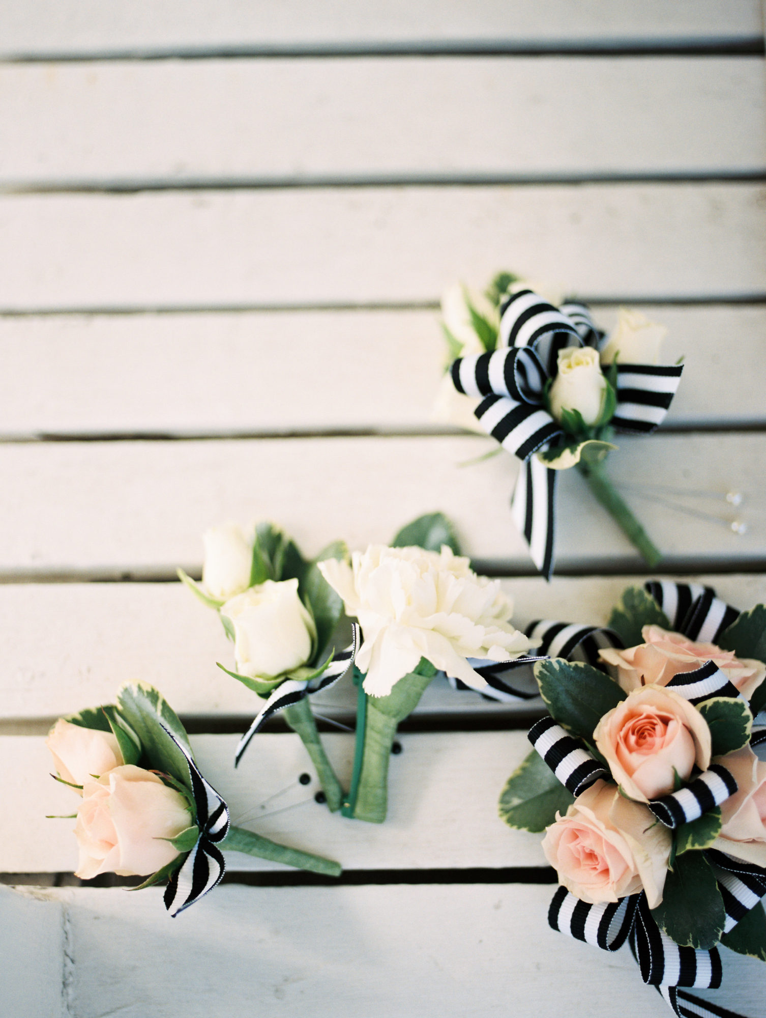 pink and white boutonnieres with black and white ribbon by Saint Charles, Illinois florist