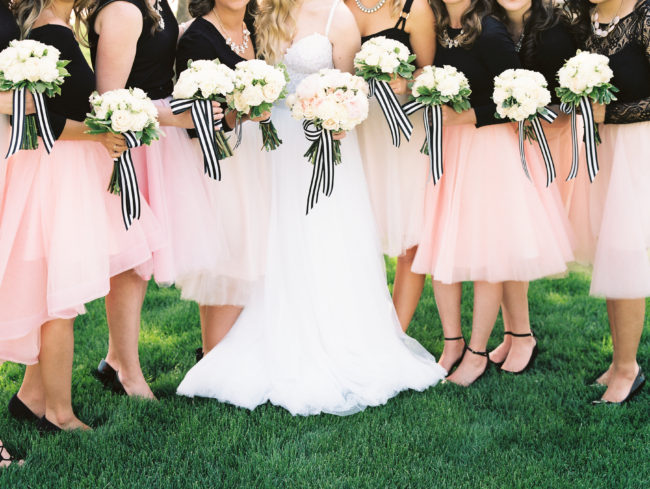 Bridal Party bouquets with black and white ribbon by Elgin, Illinois florist